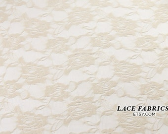 Ivory Tan Stretch Lace Fabric by the Yard, Wedding Lace Fabric, Bridal Lace Fabric  1 Yard Style 216