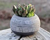Made To Order // Orb Shaped Black + White Ceramic Planter with Layered Line Pattern // Succulent Planter // Cactus Planter // Table Planter