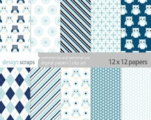 owls digital paper pack scrapbooking baby boy personal and commercial use - baby blue navy owl scrapbook paper - INSTANT DOWNLOAD