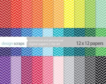 herringbone digital paper pack scrapbook commercial use - herringbone tinted rainbow digital scrapbooking paper - INSTANT DOWNLOAD