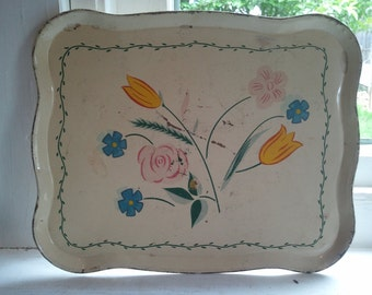 Vintage, Tray, Decorative Tray, Serving Tray, Off White, Metal, Floral, Country, Farmhouse, Kitchen Decor, RhymeswithDaughter