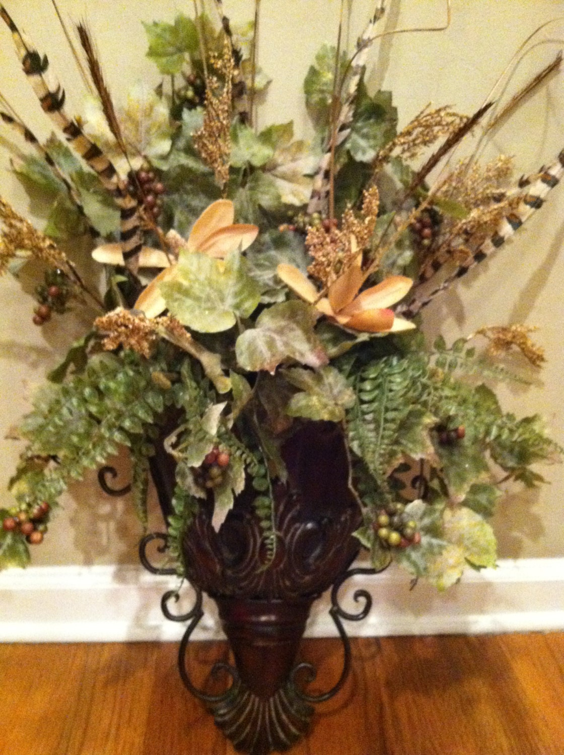 Elegant Wall Sconce Floral Arrangement Ferns by DesignTwentyNineSC