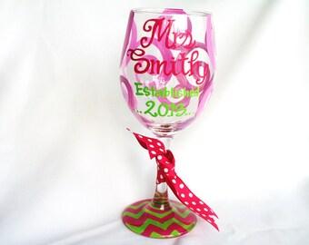Mrs. Established Bride Chevron Wine Glass Monogram Personalized Custom Name Glass Wedding Shower Bachelorette Bridesmaid Wine Glass