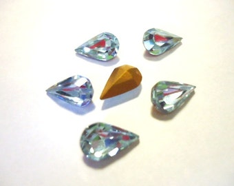 Vintage Teardrop Alexandrite Lilac Light Purple colour crystal foiled rhinestones approx 10mm x 6mm - 6 pieces Art No 308