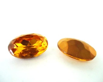 Vintage Glass Oval Light Topaz Brown colour Foiled Czech Rhinestone glass jewels 18mm x 13mm-2 pieces. Jewellery Supplies