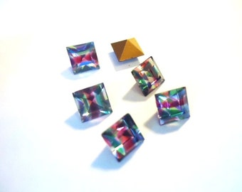 Vintage Glass Square Iris Rainbow jewels striped foiled rhinestone approx 6mm - 6 pieces