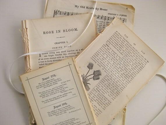 42-piece 1869-1920s ephemera paper pack. Alcott novel, birthday book, Bible dictionary, songbook