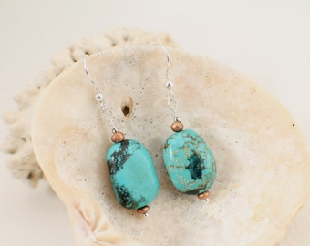 Turquoise, Copper and Silver Earrings