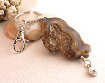 Blue Lace Agate and Silver Key Ring