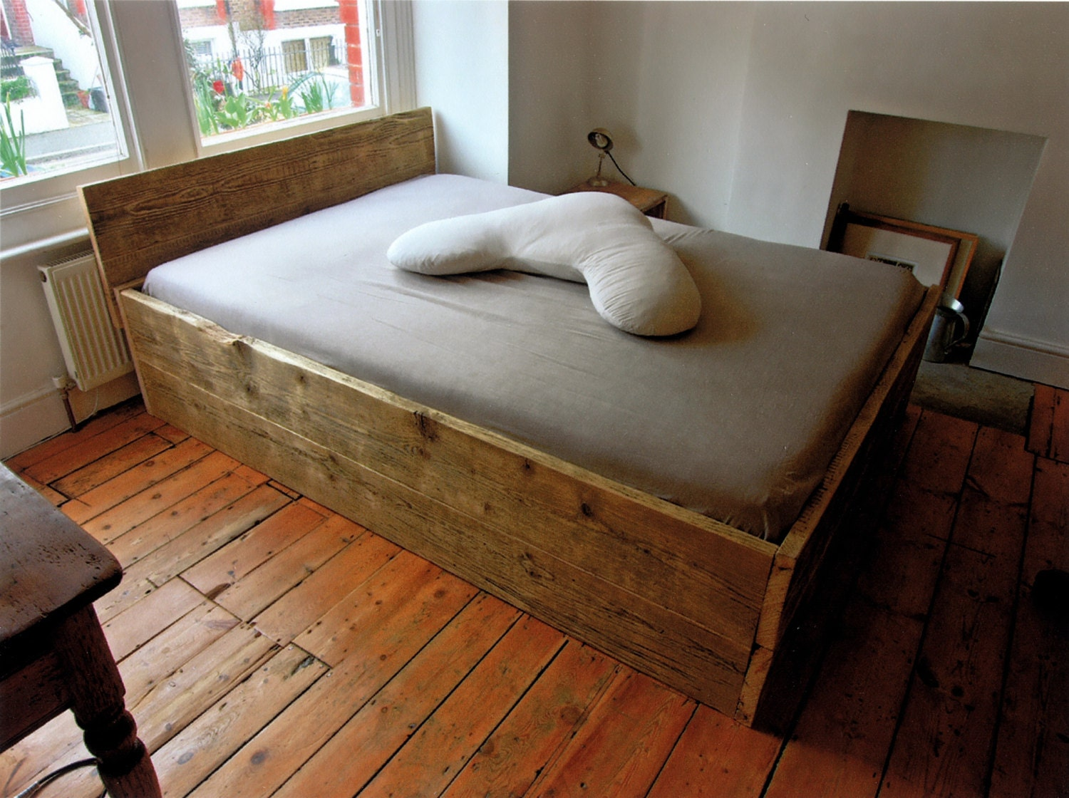 Wooden double bed base with headboard made from solid for Floor bed frame