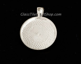 20 Round Pendant Trays - 25mm (1 inch) Sterling Silver Plated. (25MRDTSSP)