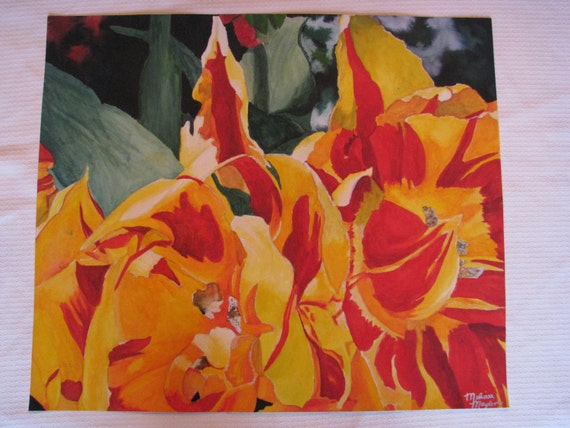 "Original Watercolor painting ""FireFlowers"""