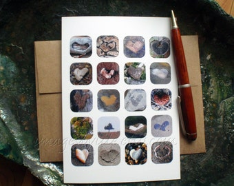 SALE Nature Card, Found Heart Images. Blank with envelope. Trees, rocks, Valentine, love, unique, thinking of you.