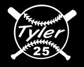 Baseball or Softball Personalized Vinyl Decal