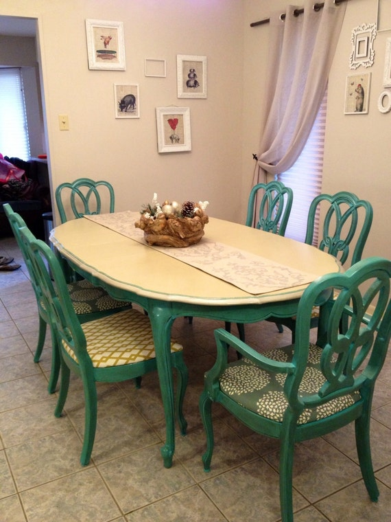 Items Similar To Antique 1960s Turquoise Dining Table And