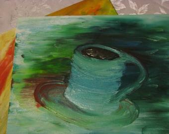 Greens and Blues Abtract Coffee Mug