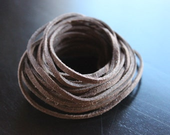 5yds faux suede cord, brown, about 3mm wide