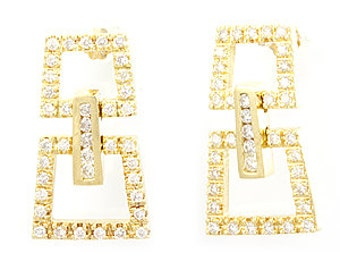 Diamond Dangling Earrings, Pave Set, 14K yellow gold Ladies Earrings, Ladies Fine Jewelry