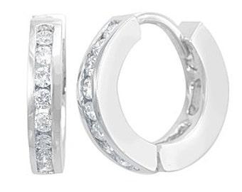 Round Diamonds Hoop Earrings, 14K White Gold Channel Set Diamonds Ladies Earrings, Ladies Fine Jewelry