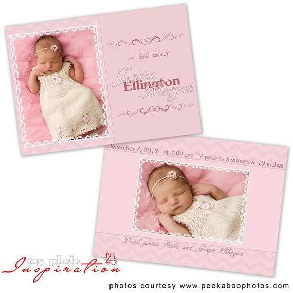 baby birth announcement template girl birth by myphotoinspiration