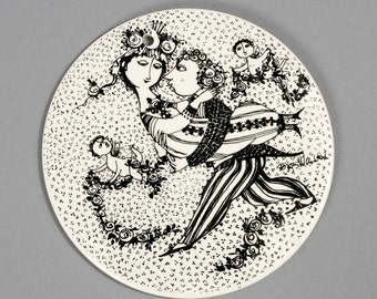 bjorn wiinblad wall plaque platte plate nymolle marts black denmark fajance danish victoire vintage retro collectable rosenthal