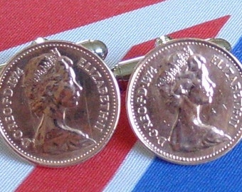 Boxed Pair Vintage British 1974 Half Pence Penny Coin Cufflinks Wedding 43rd Birthday Anniversary