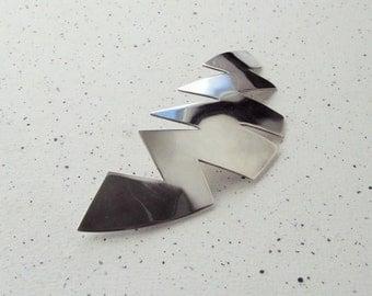 "Sterling Silver Zigzag Brooch. Length: 79mm (3.11"") Max. width 30mm."