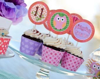 "Fun ""Night Owl"" Slumber Party Set - Birthday - Girls - Theme - Owls - Tweens - Decorations - Personalized"