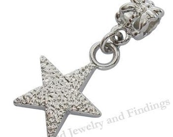 2 PC- Star Silver Charms  for European Style Bracelets- Large Hole Beads  -EC012