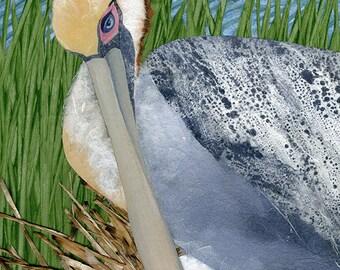 Pelican Nesting, collage painting print, by ConstanceAndersonArt