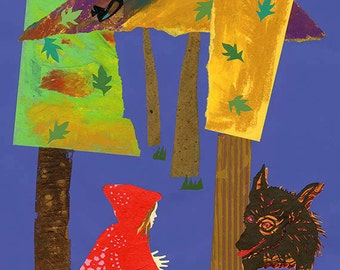 Red and Wolf In The Forest, collage painting print, by ConstanceAndersonArt
