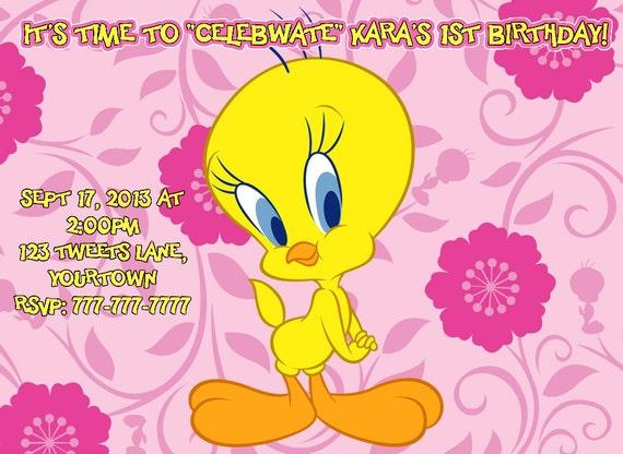 ... Card Items similar to tweety bird birthday invitation or thank you
