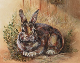 "French Country Barn Lapin (Bunny Rabbit) Archival Giclée Fine Art Print  11"" x 8 1/2""-French Country"
