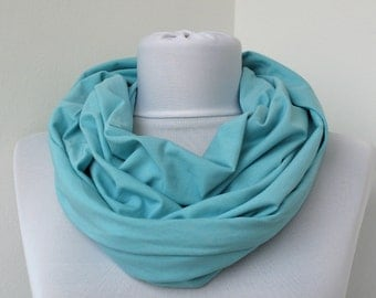CLEARANCE SALE - Light Blue Cotton Jersey Scarf - Infinity Scarf - Loop Scarf - Circle Scarf - Scarf Necklace 457