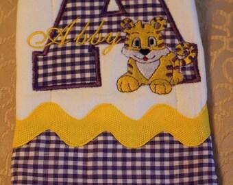 LSU Baby, LSU Burp Cloth, LSU Tigers, Tiger, Clemson, Clemson Baby, Tiger Baby, Burp Cloth, Personalized Burp Cloth, Baby Boy, Baby Girl