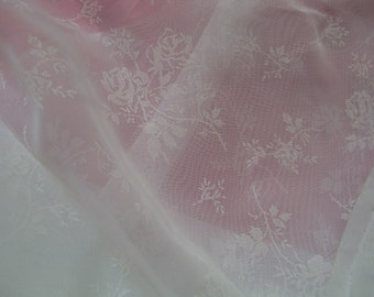 White See Through With White Flower Fabric - Soft - 3 Yard All