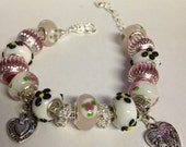 Pink and White European Charm Bracelet with Heart Charms