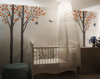 tree decal nursery wall decal baby wall decal children wall decal flying birds decal room decal-Tree with Flying Birds-DK005