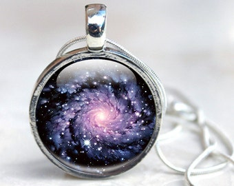 Galaxy Necklace - Glass Galaxy Necklace - Spiral Galaxy Necklace
