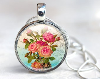 Picture Necklace Photo necklace Glass art jewelry Picture Necklace Shabby Chic Rose Pendant Necklace in Glass silver, Rose image necklace