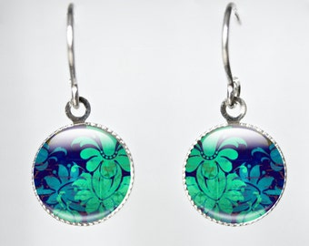 Blue and Green Earrings.  Dangle earrings with glass dome.  Floral Pattern Art