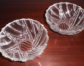 Pair of Czech Crystal Bowls