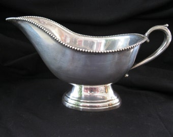 Vintage Silver Plate Gravy Boat/ Sauce Server Downton Abby Style