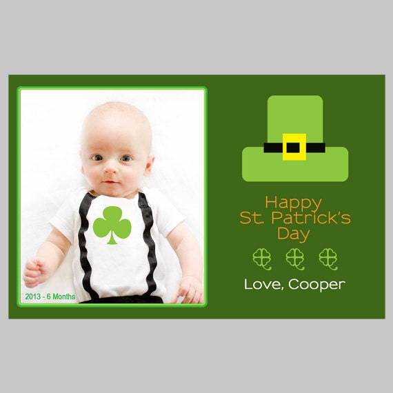... Leprechaun Hat - St. Patrick's Day Printable Photo Card Template on