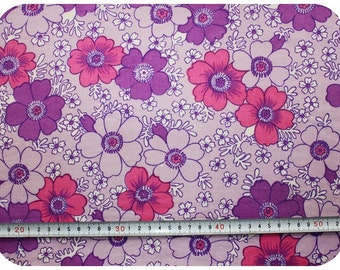 Floral retro vintage fabric - pink, purple and white