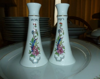 Aynsley Pembroke Tall  Salt and Pepper Shakers Vintage English Dining and Serving Cottage Chic