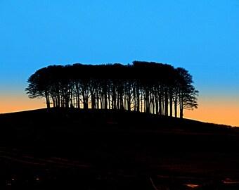 "Orange/black/blue/pink, photographic art  print ""Lifton Tump""  Devon., near Cornwall"