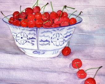Print Fruit Art Red Cherries Still Life from original Watercolor Art Print Kitchen Art Home Wall Decor