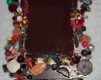Recycled Jewelery Wall or Table top Mirror for Home Decor