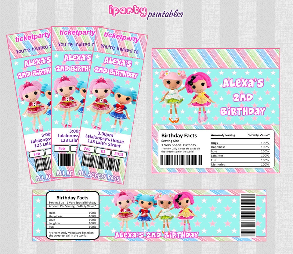 LALALOOPSY Inspire PRINTABLES Invitation - Candy Bar Wrapper - Water